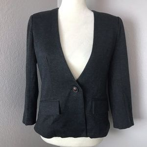 Cartonnier Gray One Button V-Neck Blazer